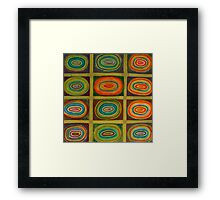Ringed Ovals within Hatched Grid Framed Print