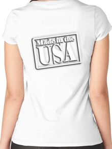 AMERICA, Made in the USA, Manufactured in America, American, Navy, Blue Women's Fitted Scoop T-Shirt