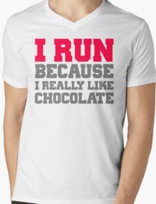 I run because i really like chocolate gym workout exercise wod Mens V-Neck T-Shirt