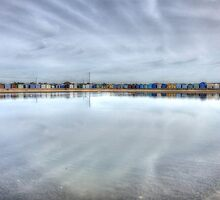 Brightlingsea beach huts reflected by CliveHarris