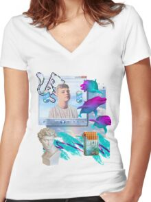Air World Vaporwave Aesthetics Women's Fitted V-Neck T-Shirt