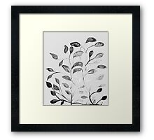 Red and Green Leaves! Romantic Silver Grey! Framed Print