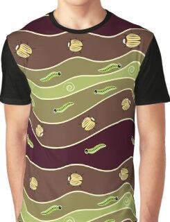 Cute yellow bugs, green caterpillar and spirals. Graphic T-Shirt