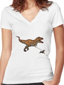 T Rex and his dog Women's Fitted V-Neck T-Shirt