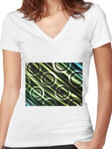 Green Yellow Blue Circles Design Women's Fitted V-Neck T-Shirt