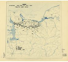July 18 1944 World War II HQ Twelfth Army Group situation map Photographic Print