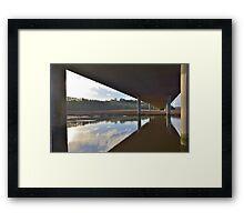 reflection under the bridge  Framed Print