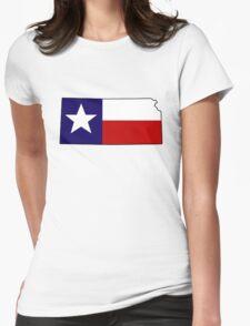 Texas flag Kansas outline Womens Fitted T-Shirt
