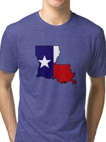 Texas flag Louisiana outline Tri-blend T-Shirt