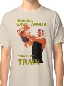 East Anglia England retro vintage travel by train advert Classic T-Shirt