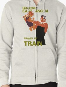 East Anglia England retro vintage travel by train advert Zipped Hoodie
