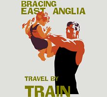 East Anglia England retro vintage travel by train advert Unisex T-Shirt