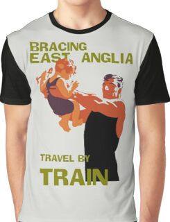 East Anglia England retro vintage travel by train advert Graphic T-Shirt
