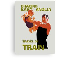 East Anglia England retro vintage travel by train advert Canvas Print