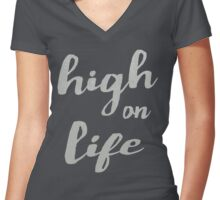 High on Life Women's Fitted V-Neck T-Shirt