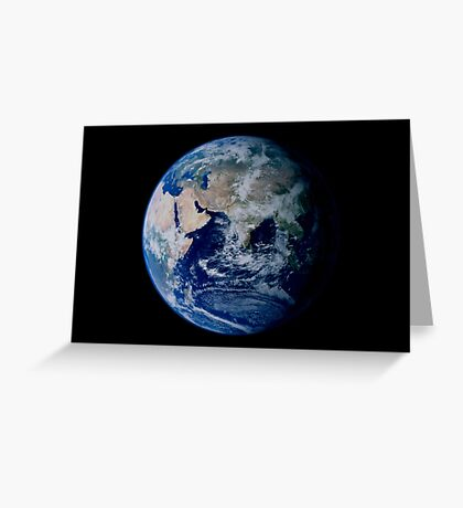 Earth from space showing eastern hemisphere. Greeting Card