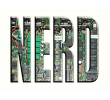 NERD Computer Motherboard Letters Art Print