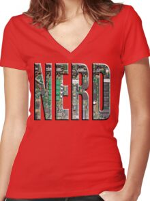 NERD Computer Motherboard Letters Women's Fitted V-Neck T-Shirt