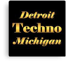 Gold Detroit Techno Michigan Canvas Print
