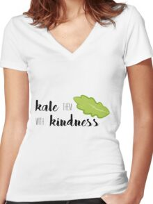 Kale Them With Kindness- Kale Women's Fitted V-Neck T-Shirt