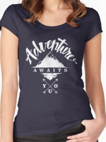 Adventure Awaits You - Cool Outdoor Shirt-Design Women's Fitted Scoop T-Shirt