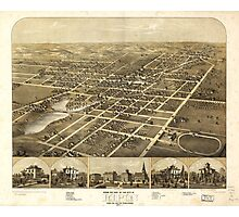 Aerial Map City of Ripon Fond du Lac County Wisconsin (1867) Photographic Print