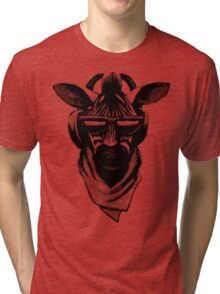 Cool Zebra Head with Headphones (Black and White) Tri-blend T-Shirt