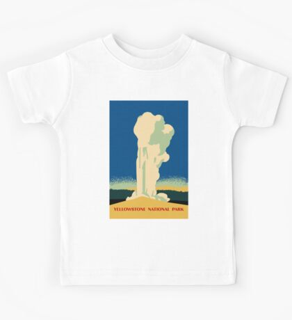 Yellowstone retro vintage cone geyser travel ad Kids Tee