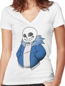 Undertale Sans! Vector Women's Fitted V-Neck T-Shirt
