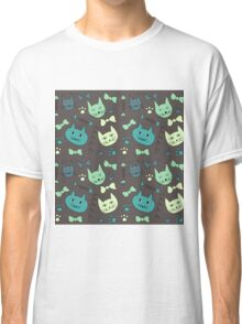 Cute, hand green, brown cats Classic T-Shirt