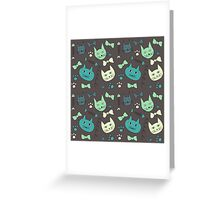 Cute, hand green, brown cats Greeting Card