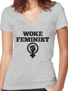 Woke Feminist Women's Fitted V-Neck T-Shirt