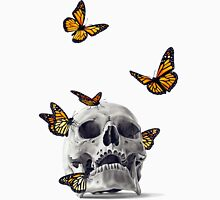 Skull with Monarch Butterflies Unisex T-Shirt
