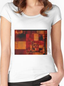City Abstract - Fire Red Women's Fitted Scoop T-Shirt