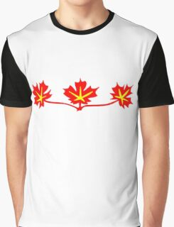 Red Maple Leaves Canadian Standard Symbol Graphic T-Shirt