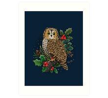 Holly Owl Art Print
