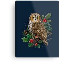 Holly Owl Metal Print
