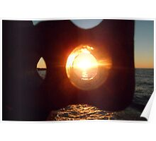 Lake Erie Sunset Through Beach Brick Poster