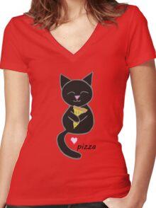 Kitty loves pizza Women's Fitted V-Neck T-Shirt