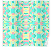 Pink, Yellow, and Teal Geometric Kaleidoscope Poster