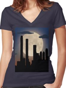 City Skyline - Night TIme Women's Fitted V-Neck T-Shirt