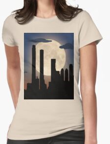 City Skyline - Night TIme Womens Fitted T-Shirt
