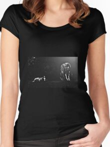 Moonlit Gypsy mare and foal Women's Fitted Scoop T-Shirt
