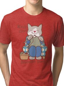 Knit One Snooze Two Knitting Kitty Tri-blend T-Shirt