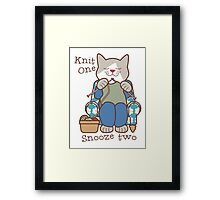 Knit One Snooze Two Knitting Kitty Framed Print