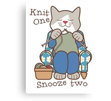 Knit One Snooze Two Knitting Kitty Canvas Print