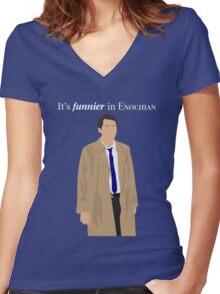 Supernatural - Castiel It's Funnier in Enochian Women's Fitted V-Neck T-Shirt