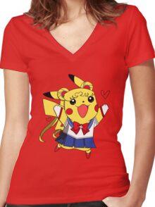 Sailor Pikachu Women's Fitted V-Neck T-Shirt