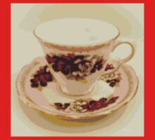 Pink and Red Roses Vintage Teacup Still Life Photography  One Piece - Short Sleeve