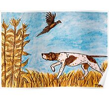 Pointer Dog Pheasant Bird Hunting Painting Poster